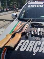 Suspeito é preso pela PMCE com armas no bairro Rodolfo Teófilo